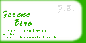 ferenc biro business card